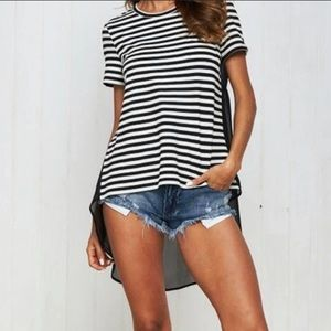 Tops - Black and White High-Low Tunic Tee